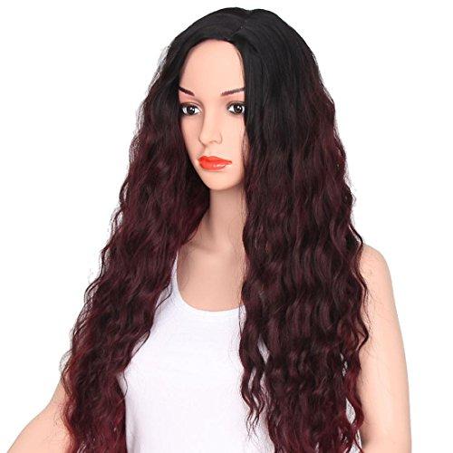 MuSheng(TM) Femmes Mode Moyen Partie Grande Vague Gradation Vin Rouge Perruque Cheveux Bouclés