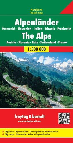 Alpenländer: Österreich, Slowenien, Italien, Schweiz, Frankreich / Alps: Austria, Slovenia, Italy, Switzerland, France- Road map 1:500 000 (Auto karte)