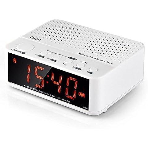 Portátil multifunción despertador del despertador LUJII de escritorio inalámbrico digital con pantalla grande de altavoces Bluetooth visión nocturna / tarjeta de FM / MP3 / TF / AUX / Mano-libre (blanco)