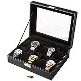 TecTake Uhrenbox Uhrenkasten Kunstleder - diverse Farben - (Schwarz 10 Uhren | Nr. 401537)