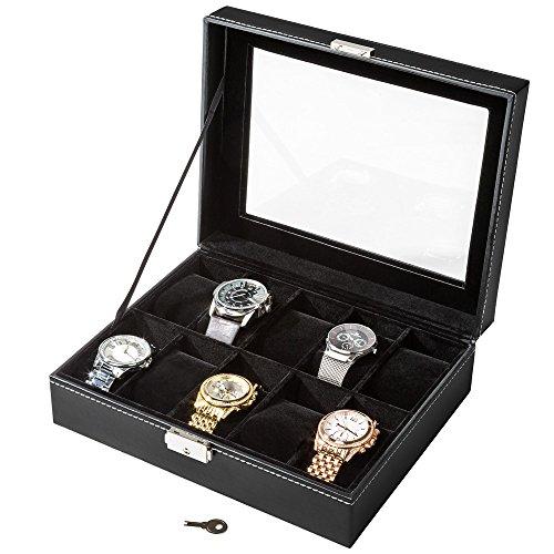 TecTake Uhrenbox Uhrenkasten Kunstleder - diverse Farben - (Schwarz 10 Uhren | Nr. 401537) (Rolex Box)
