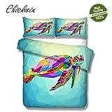 Chickwin 3D Bettwäsche Set, 3 Teilig Mikrofaser Doppelbett Bequem Weich und Haltbar Atmungsaktive Hypoallergen Bettbezug -Set,1 Bettbezug, 2 Kissenbezüge - Schildkröte (200 * 200cm,Bunt)