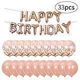 Hivexagon Set di 33 Palloncini Gonfiabili d'oro Rosa per Party con Striscione con Scritta Happy Birthday, 10pz 10 Pollici Palloncini e 10pz 12 Pollici Coriandoli Palloncini per Decorare Feste HG345