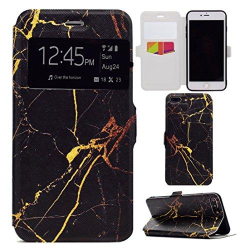 Apple iPhone 7 Plus 5.5 hülle, Voguecase Kunstleder Tasche PU Schutzhülle Tasche Leder Brieftasche Hülle Case Cover (Sichtfenster/Erde) + Gratis Universal Eingabestift Sichtfenster/Marmor/Schwarz