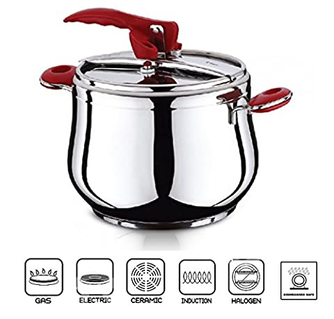 ESILA Stainless Steel Stovetop Pressure Cooker Stockpot Induction Base 5/7 Litre (9 Litre)