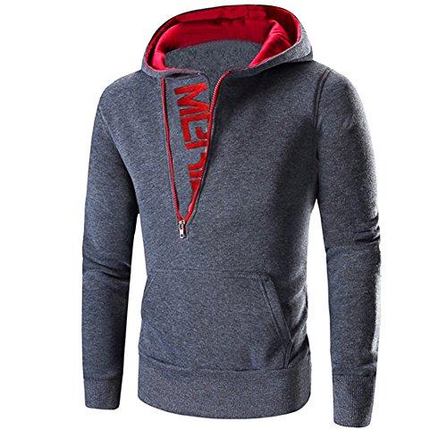 FRAUIT Mode Patchwork Langarm Männer Pullover Sweatshirt Mantel Stand Kragen Pullover Outwear 100% Baumwolle Volle Größe Outwear (XXL, Dunkelgrau 1)