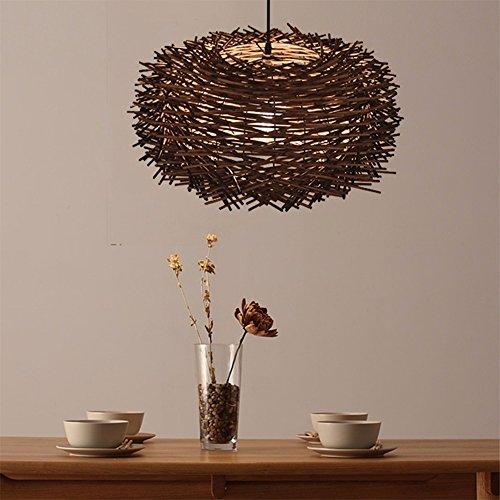 LighSCH Pendelleuchten Kronleuchter Persönlichkeit kreativ Eine idyllische Rattan Vogelkäfig Restaurant ist hell Espresso Braun 5W warmes Licht 30cm Led