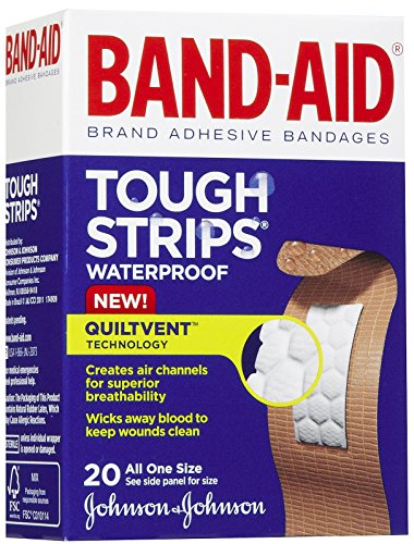 Band-Aid Tough-Strips Adhesive Bandages, Waterproof-20ct by Band-Aid