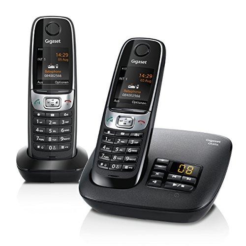 Gigaset C620A Duo Telefon, Schnurlostelefon / 2 Mobilteile, Farbdisplay, Dect-Telefon, Anrufbeantworter, Freisprechen, Analog Telefon, schwarz