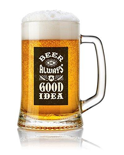 Jarra de Cerveza vidrio 50 cl. con frases Modelo Good Idea