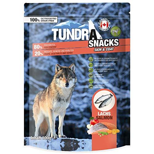 Tundra Snacks mit Lachs - Getreidefrei für Hunde 1er Pack (1 x 100 g) (Bio-süßkartoffel Snacks)
