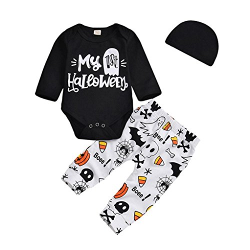 Evansamp Baby Mädchen Jungen My 1St Halloween Brief Langarm Strampler + Cartoon Bedruckte Hose + Hut Kleinkind Halloween Kostüm Outfits Set, Kinder, Schwarz, 18 Monate