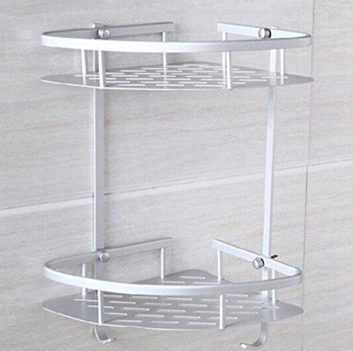 LongTN Aluminium-Badezimmer 2-Tier-Eck-Regalkorb, Handtuch-Shampoo-Aufbewahrungshaken Aluminium-Wandhalterung