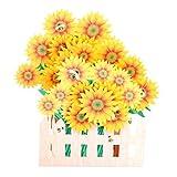 Exing Geburtstagskarte Graduierung,Sonnenblume Grußkarten Handgemachte Geburtstag Hochzeitseinladung 3D Pop Up Card Art
