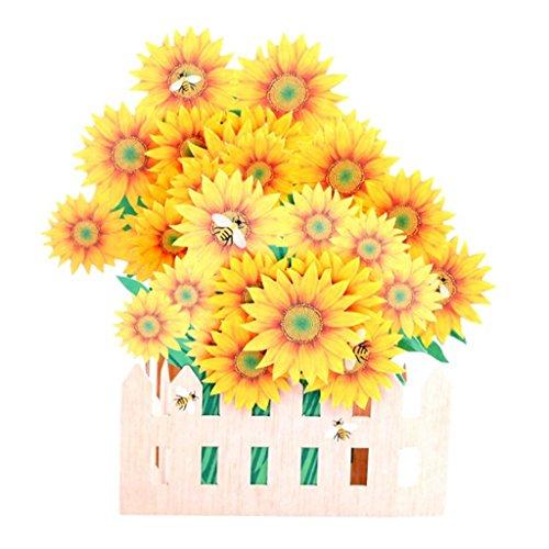(LANDUM Sonnenblume Grußkarten Handmade Geburtstagskarte Einladung Hochzeit Pop up Karte 3D Art)