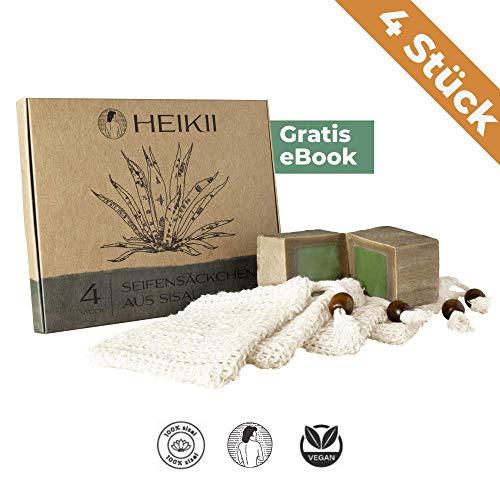 heikii® 4x Seifensäckchen aus Sisal inkl. eBook - Seifenbeutel für Seifen & Seifenreste - Ideal zum Aufschäumen und zur Aufbewahrung von Aleppo Seife und allen anderen Seifen -