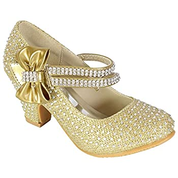 Girls Wedding Shoes Kids Children Bridesmaid Prom Diamante Starppy Mary Jane Style Court Shoe Block Low Mid Heel Velcro Fastening Party Formal Evening Dress Sandals Size 1 Uk 33 Eu Gold Bow 0