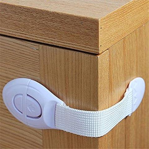 nusey (TM) BS # S armario puerta cajones nevera WC alargado Bendy gamuza de seguridad cinturón de plástico Cierres de seguridad para niño niños bebé seguridad