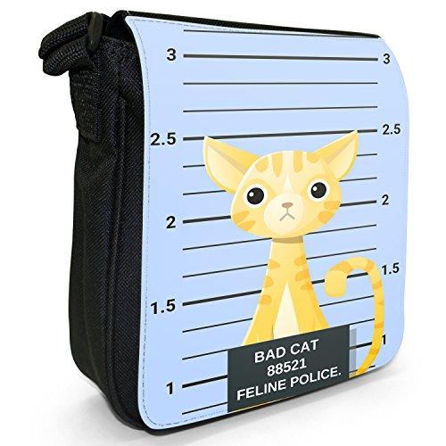 Gegenüberstellung Polizei böse unartige Katzen Kleine Schultertasche aus schwarzem Canvas Niedliche gestreifte gelbe Bengalkatze