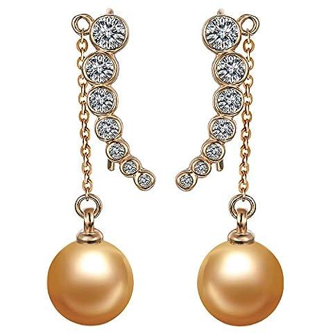 Yoursfs Boucles d'oreilles clous plaqué Or Pendantes en Cristal et Perle de culture orange avec chaîne forme de Pois cosse bijoux fantaisie pour Femme