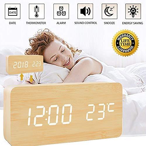 Wecker Uhr Holz Digital, Led Wecker Tischuhr Kinder, Digital Schwarz Holzoptik Alarm Wecker Uhr Temperatur Snooze, Analoge Wecker Uhr, Reisewecker Tischuhren, Stimme und Berührung Aktiviert