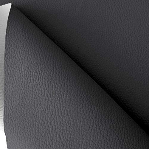 TOLKO Kunstleder Polsterstoff Meterware als Robuster Premium Bezugsstoff, Möbelstoff zum Nähen und Beziehen, 140cm Breit (Dunkelgrau)