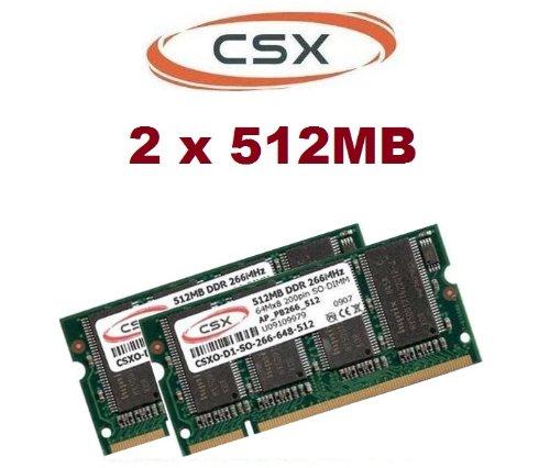 CSX 1GB 2 x 512MB 266MHZ Notebook PC-266 Speicher Ram PC-2100 PC 266 für Laptops DDR1 DDR-Ram -