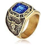 KnSam Schmuck Herren-Ring Edelstahl Bandring Fingerring Ziege Kopf Zirkonia Punk Ehering für Männer Junge Gold Blau Größe 62 (19.7)