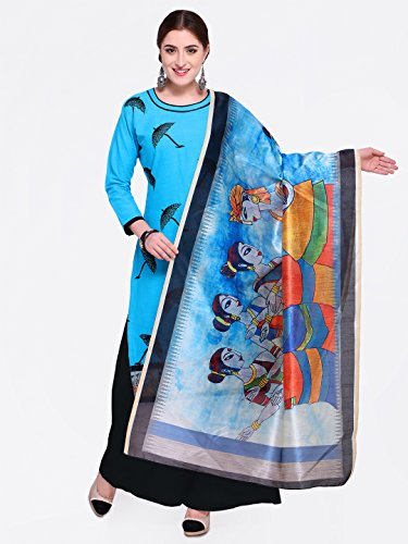 Kimisha Blue Heay Embroidered And Fancy Border Suit With Printed Dupatta