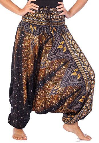 Lofbaz Women's Peacock Print 2 in 1 Harem Pants Jumpsuit Negro & Gold S