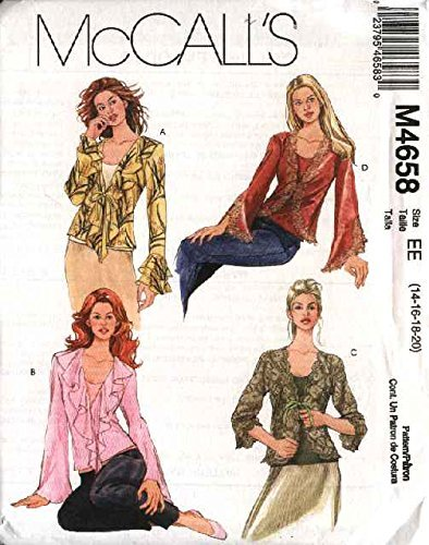 McCall's Sewing Pattern 4658 Misses Size 6-12 Front Tie Jacket Tops Bias Tank Shell Twinset by McCall's Bias Tank