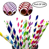 HOME CUBE 100 Pcs High Quality Biodegradable Paper Drinking Straws,Paper Straws for Juices, Shakes, Smoothies, Party Supplies Decorations,Ultra Long 19.5 cm (Random Color & Design)
