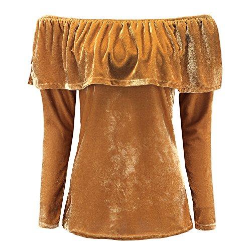 Balai Femmes Manches Longues Velour Partie Robe Dames Tiered Epaule Mini Tops Volantee Jaune