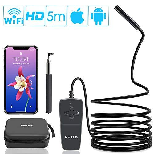 WiFi Endoskop,ROTEK Drahtlose Inspektionskamera,2.0 Megapixel 1080P HD Endoskopkamera,IP68 Wasserdichte Sanitär Schlange Kamera mit 8 LED-Leuchten für IOS Android Smartphone,Tablette - 5 Meter