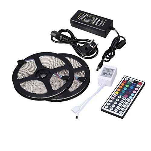 Minger Ruban LED Lumineuse 2x5M 10 Mètres(32.8 ft) 5050 SMD 150 LEDs RVB/RGB LED Bande Strip Kit d'éclairage Non Étanche, Idéal pour Décorations de Maison, Cuisine, TV Arrière et Noël