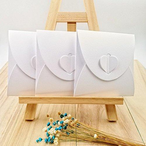 Preisvergleich Produktbild JZK 50 x Kraftpapier unbelegter Umschlag Hüllen Sleeves Kuverts für CD DVD sofortige Verschlussschußfotos, Party Favor für Hochzeit Geburtstag Party Weihnacht (CD Umschlag, weiß)
