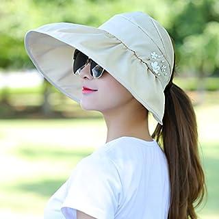 H-M-STUDIO Summer Sunshade capanti-Ultraviolet Sun capbrim Sunscreen capfoldable air-top Cool Cap,B,Beige