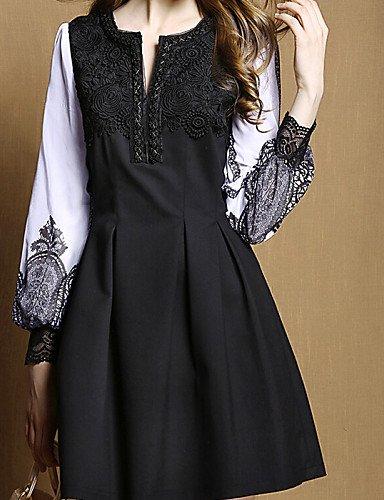 LYQ/ Robe Aux femmes Grandes Tailles Vintage / Soirée / Travail Col en V Au dessus du genou Mousseline de soie black-m