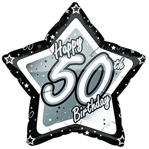 (18in, Black/Silver) - Creative Party Happy 50th Birthday Black/Silver Star Balloon (46cm )