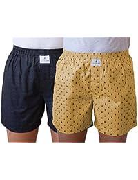 (Pack Of 2) SKOR NX Men Premium Cotton Printed Cream & Black Polka Dot Boxer Shorts With 1 Back Pocket, Concealed...