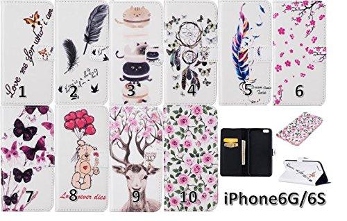 PU für Apple iPhone 6 (4.7 Zoll) Hülle,Farbe geprägt Geprägte Handyhülle / Tasche / Cover / Case für das Apple iPhone 6 (4.7 Zoll) PU Leder Flip Cover Leder Hülle Kunstleder Folio Schutzhülle Wallet T 6