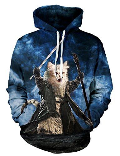 KamiraCoco 3D Druck Kapuzenpullover Herren Cartoon Sweatshirt Weihnachten Langarm Top Shirt Herbst Winter Drawstring Hoodie Pullover mit Kapuze Hobbit Katze