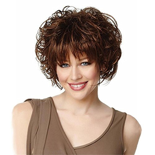 TT Europäische und amerikanische Mode-Perücken kurze lockiges Haar flauschige braune Perücke (Kurzen Braunen Bart Kostüm)