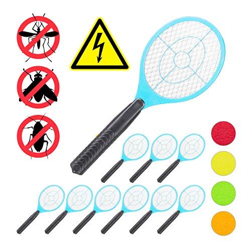 Relaxdays 10 x elektrische Fliegenklatsche, ohne chemische Stoffe, Fliegentöter, gegen Fliegen, Mücken & Moskitos, Fly Swatter, blau