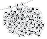 ILOVEDIY 50 Stück weiße, runde Zahlen Zwischenperlen 7mm