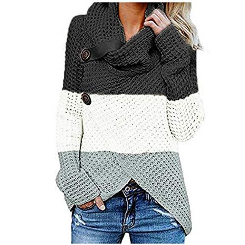Maglione Pullover Collo Alto Asimmetrico da Donna