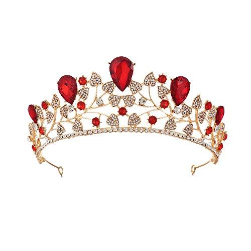 Krone Tiara Krone Tiara Prom Queen Crown Quinceanera Festzug Kronen Prinzessin Crown Strass Crystal Bridal Crowns Diademe Für spezielle Soiree (Color : Red)