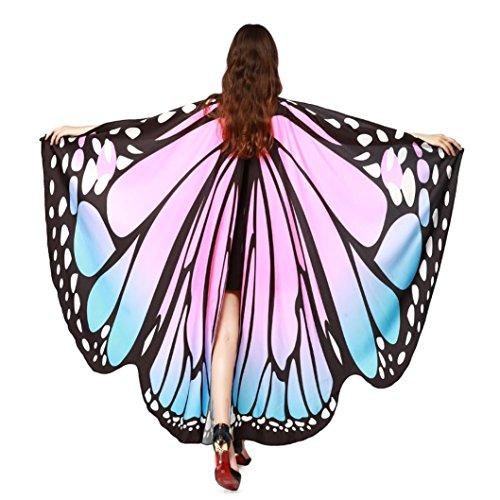 (Schal Damen,Binggong Frauen Schmetterlingsflügel Schals Damen Nymphe Pixie Poncho Kostüm Zubehör Weiches Gewebe Schmetterlingsflügel Schal Fee Niedliche Kostümstützen Pfau Flügel (1C, Rosa))