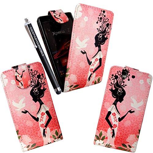 Styleyourmobile Sony Xperia Z (C6603) verschiedene PU Leder Magnetisch Flip Case Skin Cover Tasche + Stylus, Kunstleder, WORLD PEACE LADY, MOBILE (Schuhe Zubehör Verkauf Womens)
