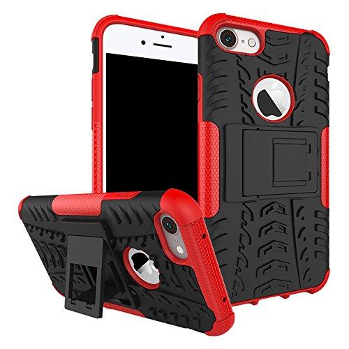 Nadakin Apple iphone 8 Hülle Schutzhülle Hybrid Rugged Phone Case Stoßfest Handys Schutz Cover mit eingebautem Kickstand Shockproof für Apple iphone 8 (Blau) Rot